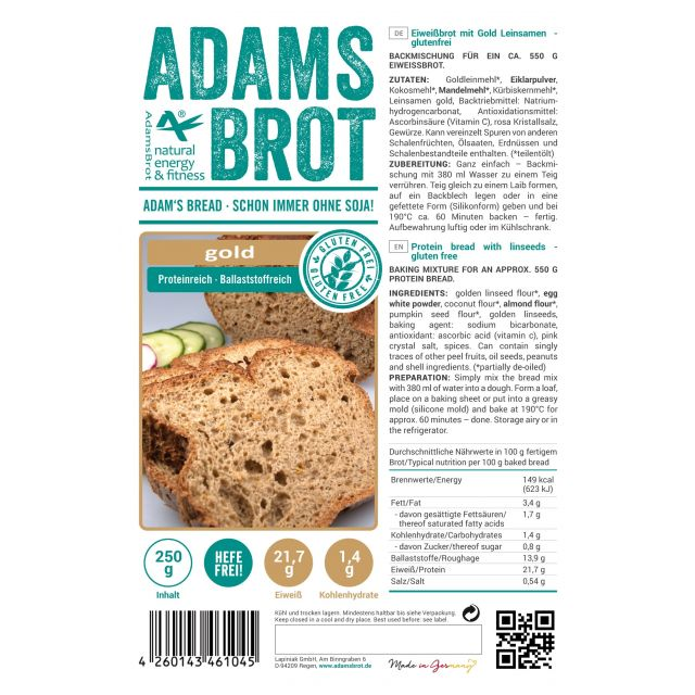 Adam's Brot Koolhydraatarm Brood Gold