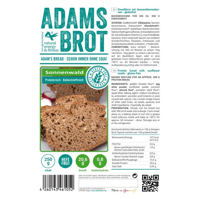 Adam's Brot Koolhydraatarm Brood Sonnenwald