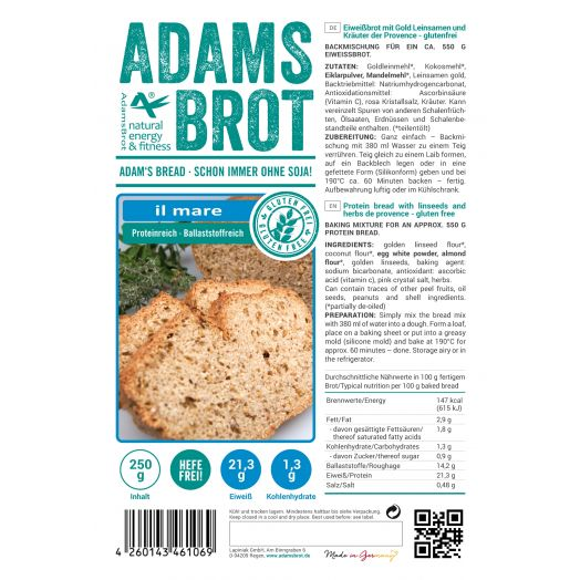 Adam's Brot Koolhydraatarm Brood il Mare